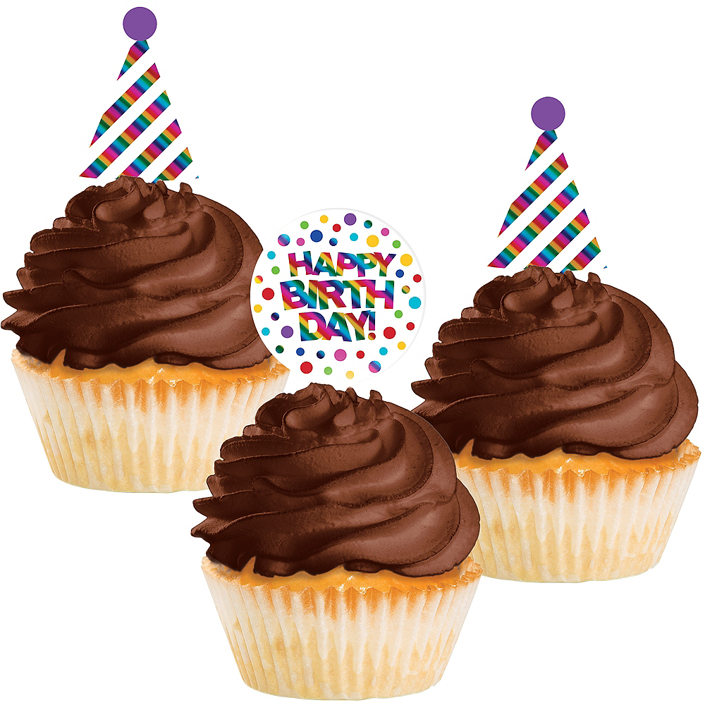 Metallic Rainbow Cupcake Picks 24ct Image #1