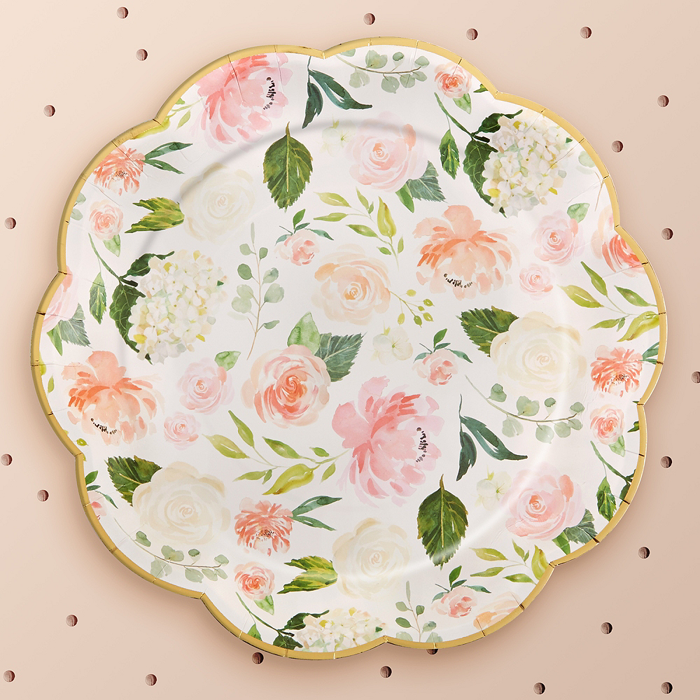 Metallic Floral Scalloped Lunch Plates 8ct Image #1