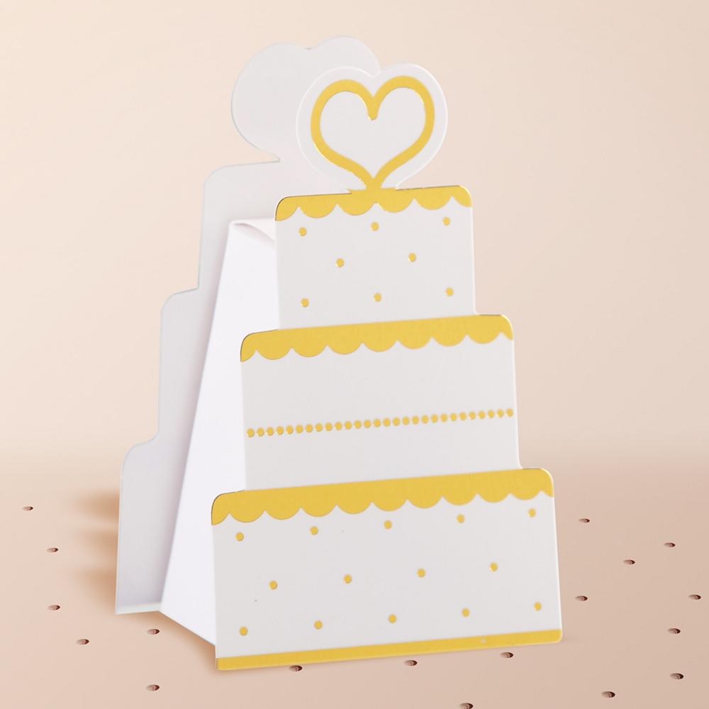 Gold Wedding Cake Favor Boxes 12ct Image #1