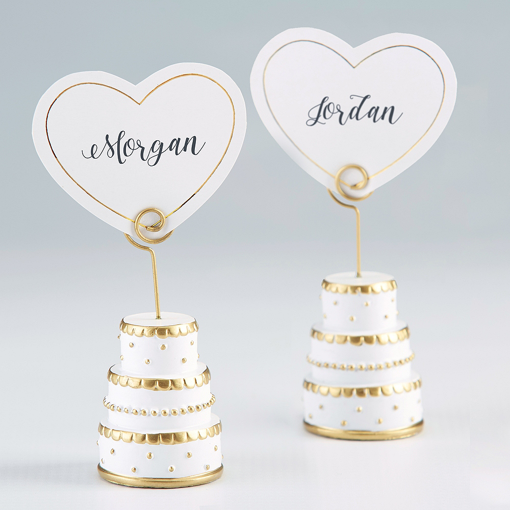 Gold Wedding Cake Place Card Holders 6ct Image #1