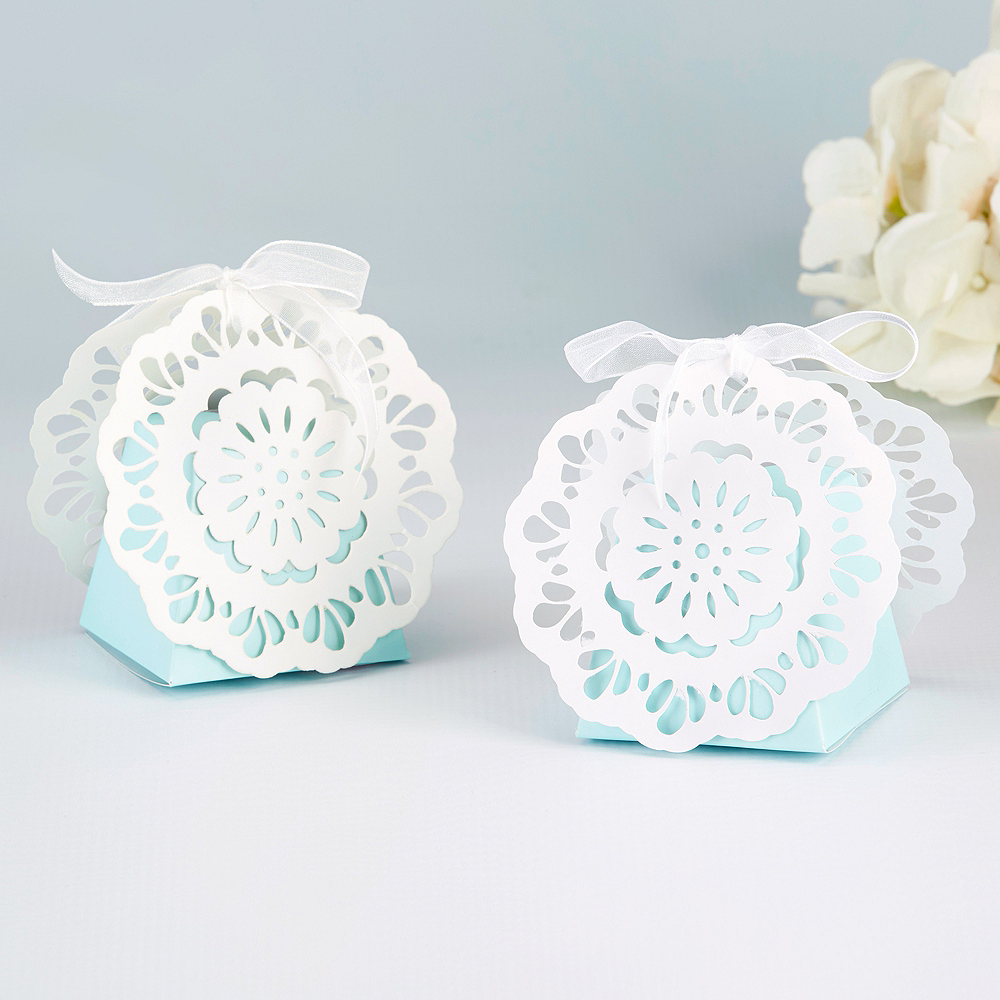 Something Blue Lace Favor Boxes 12ct Image #1