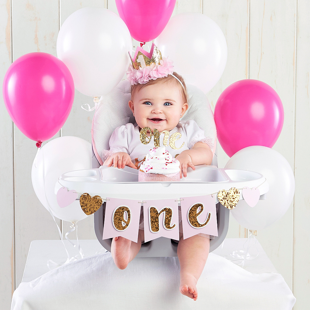 Gold Glitter 1st Birthday Decor Kit Image 1