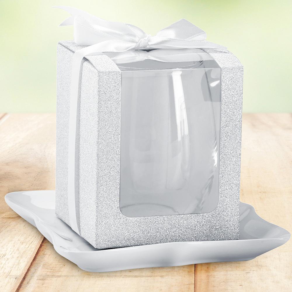 Silver Glitter 9oz Glassware Gift Boxes 12ct Image #1