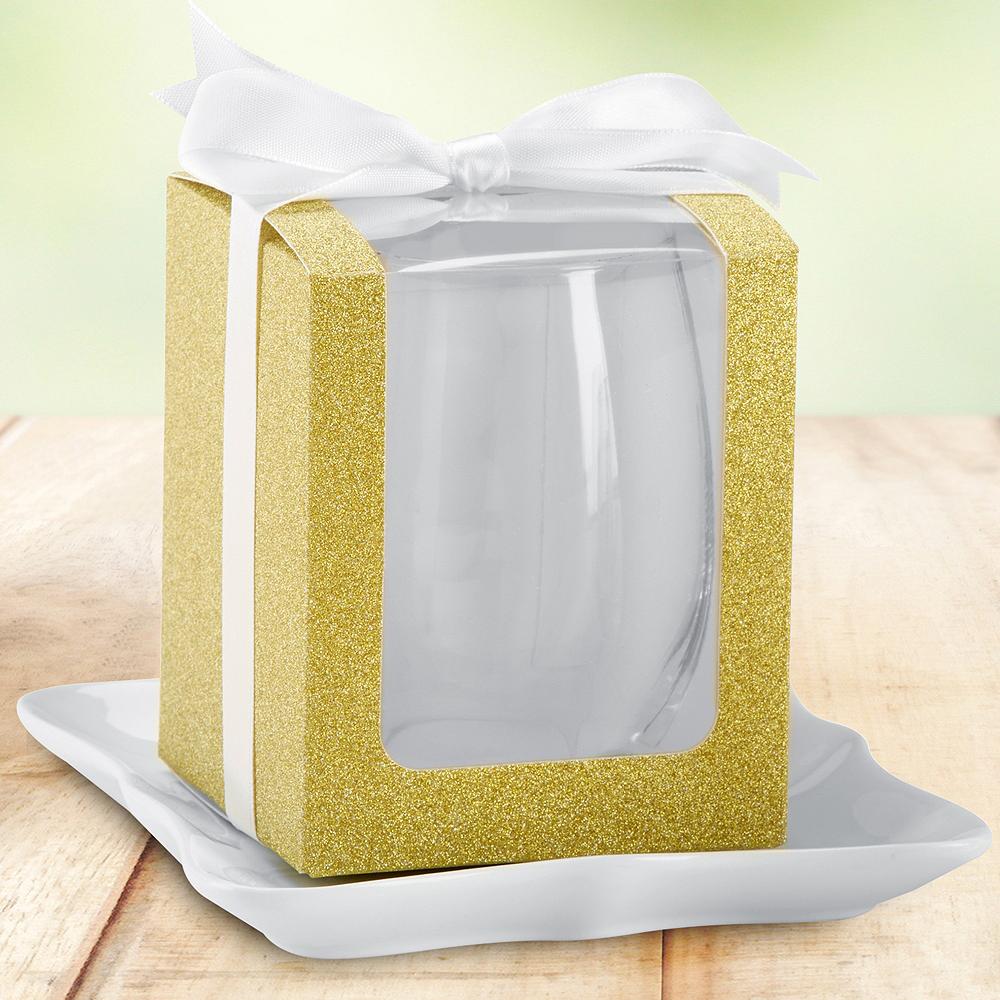Gold Glitter 9oz Glassware Gift Boxes 12ct Image #1