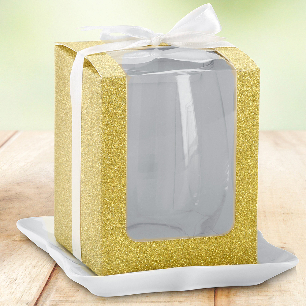 Gold Glitter 15oz Glassware Gift Boxes 12ct Image #1