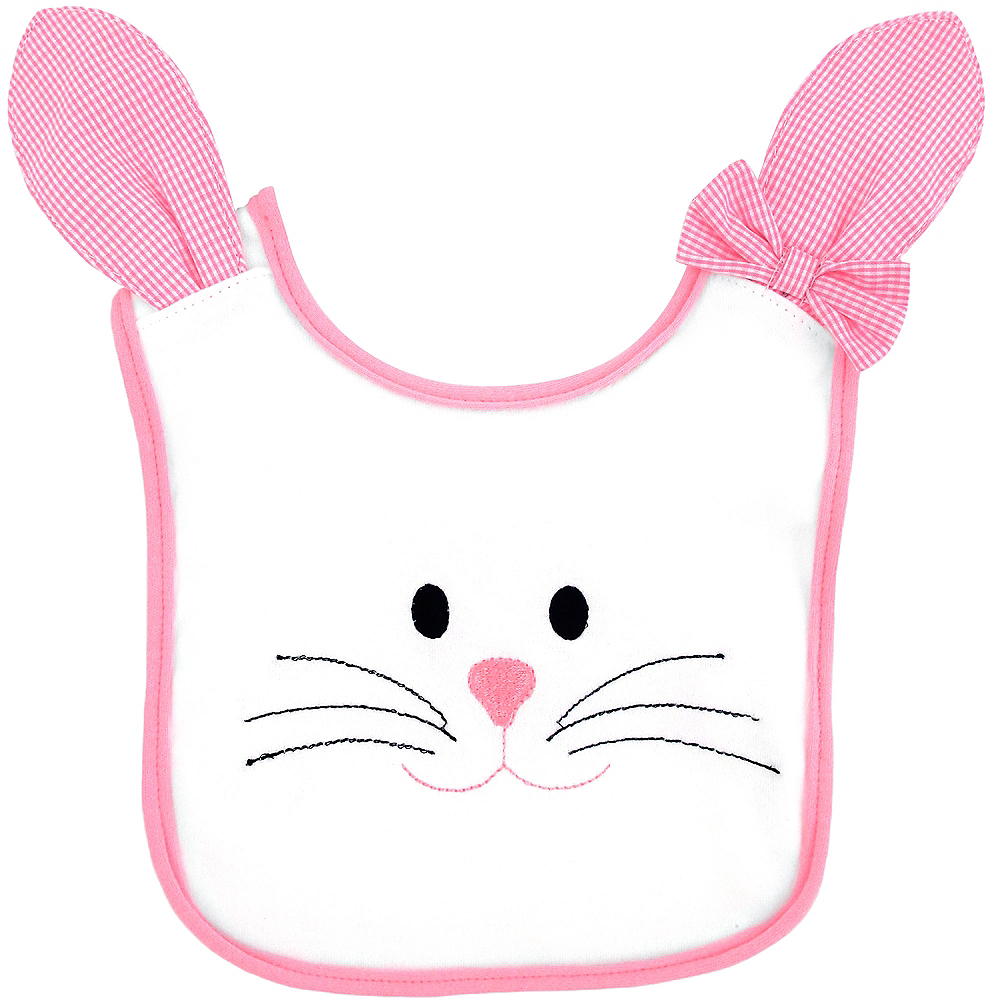 Pink Plaid Bow Easter Bunny Bib Image #1