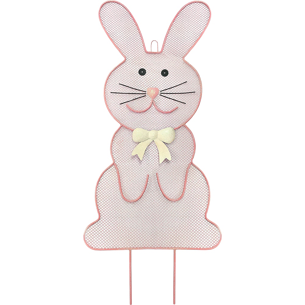 Glitter Pink Mesh Easter Bunny Yard Stake Image #1
