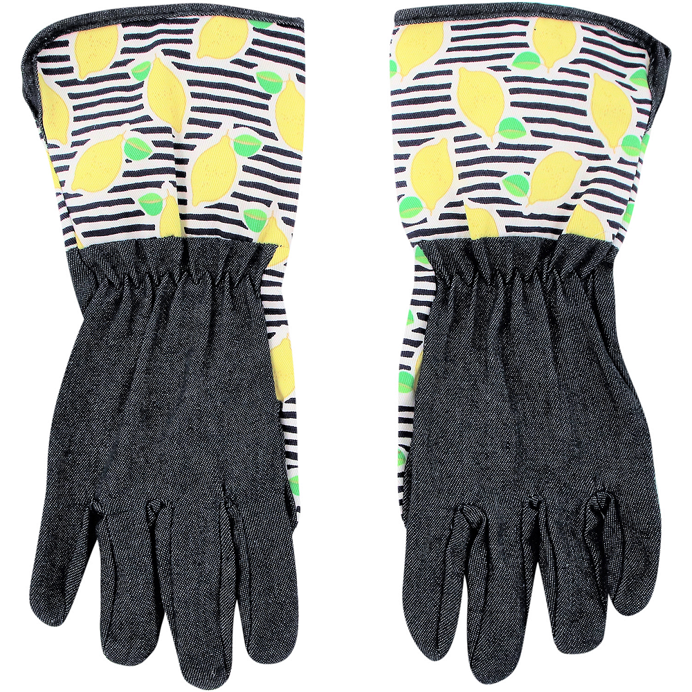 Adult Lemon & Stripe Gardening Gloves Image #1