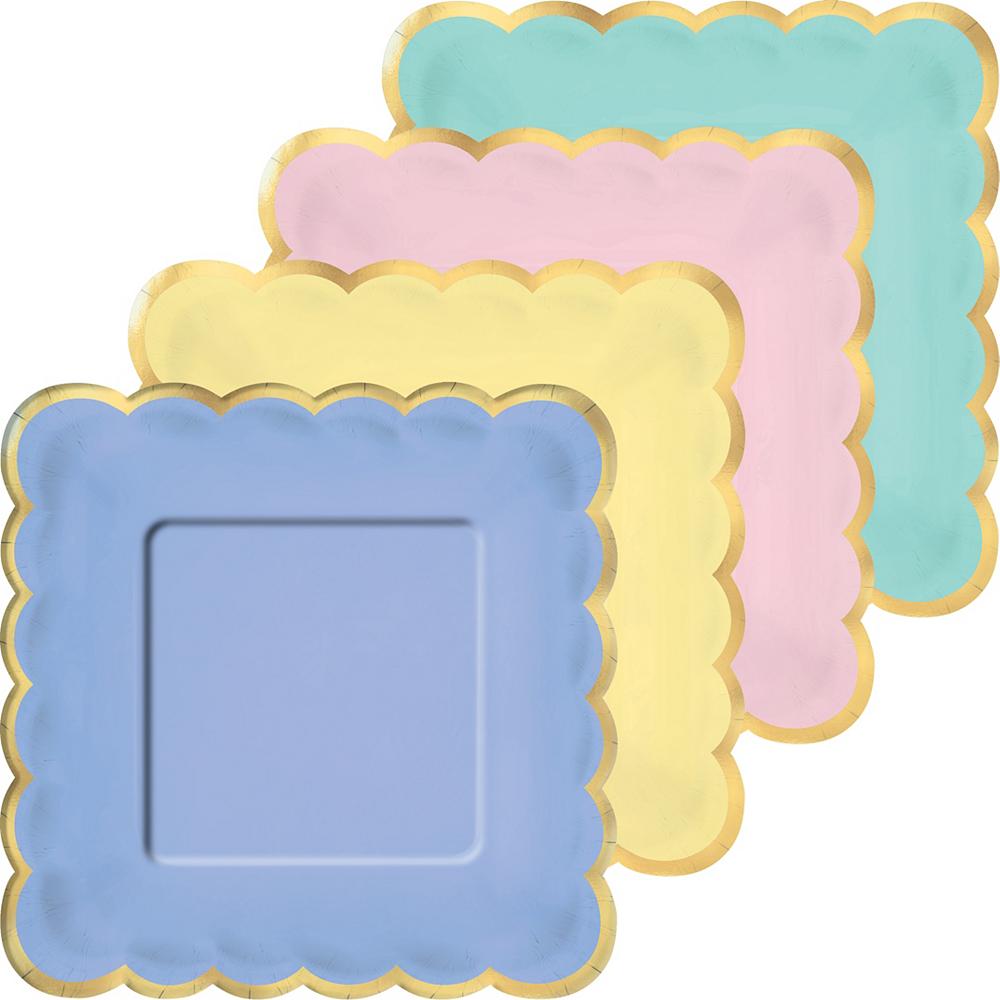 Metallic Gold Border Pastel Square Dessert Plates 8ct Image #1