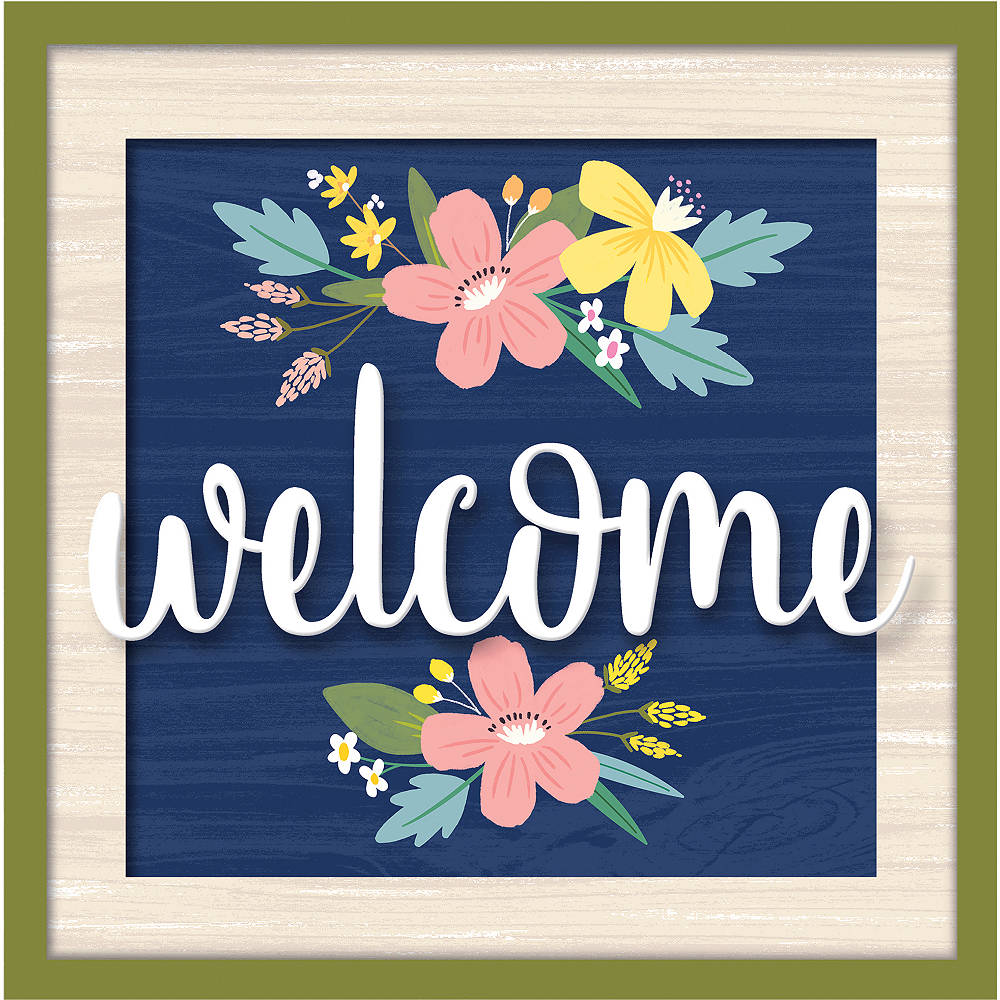 Floral Welcome Block Sign Image #1