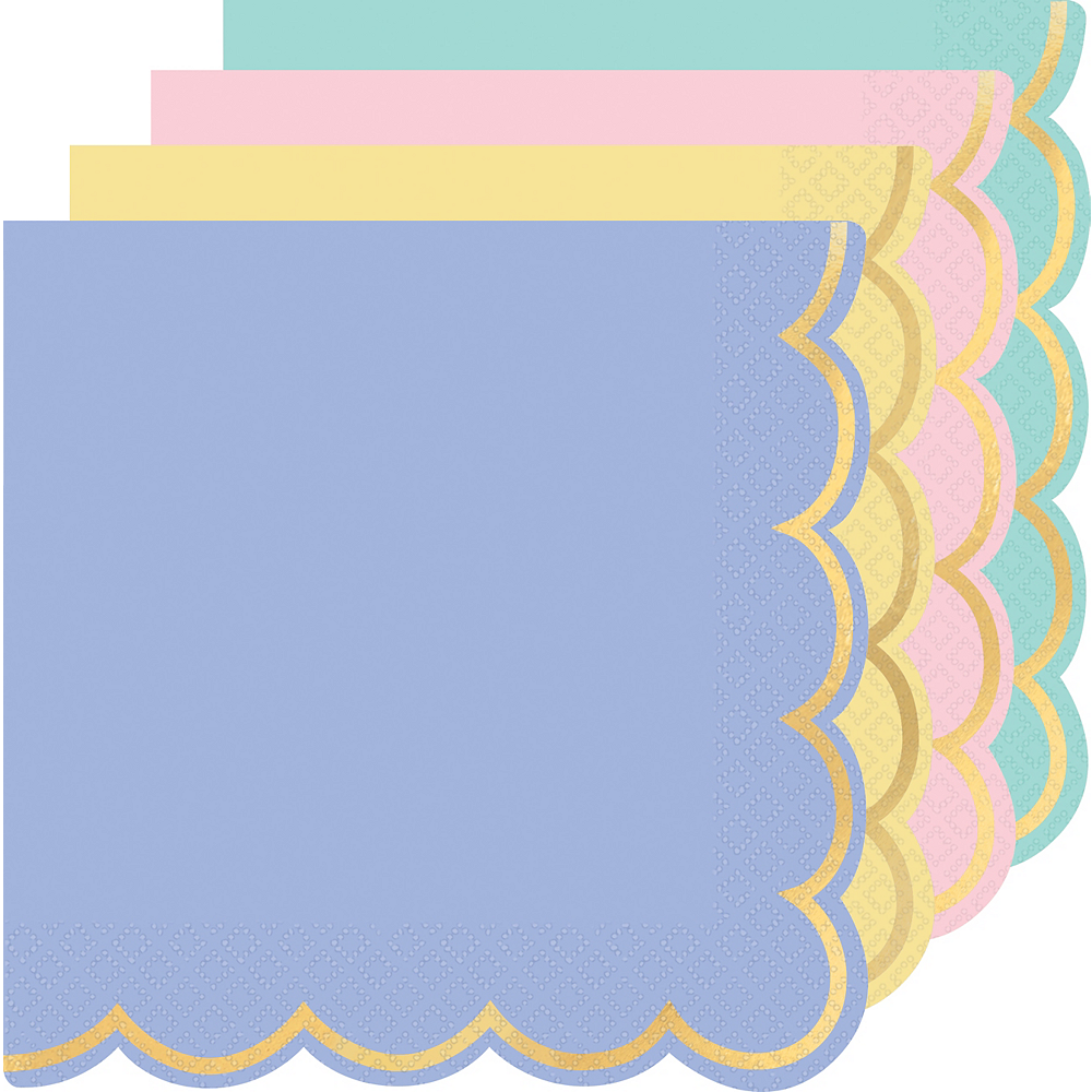 Metallic Gold Border Pastel Lunch Napkins 16ct Image #1