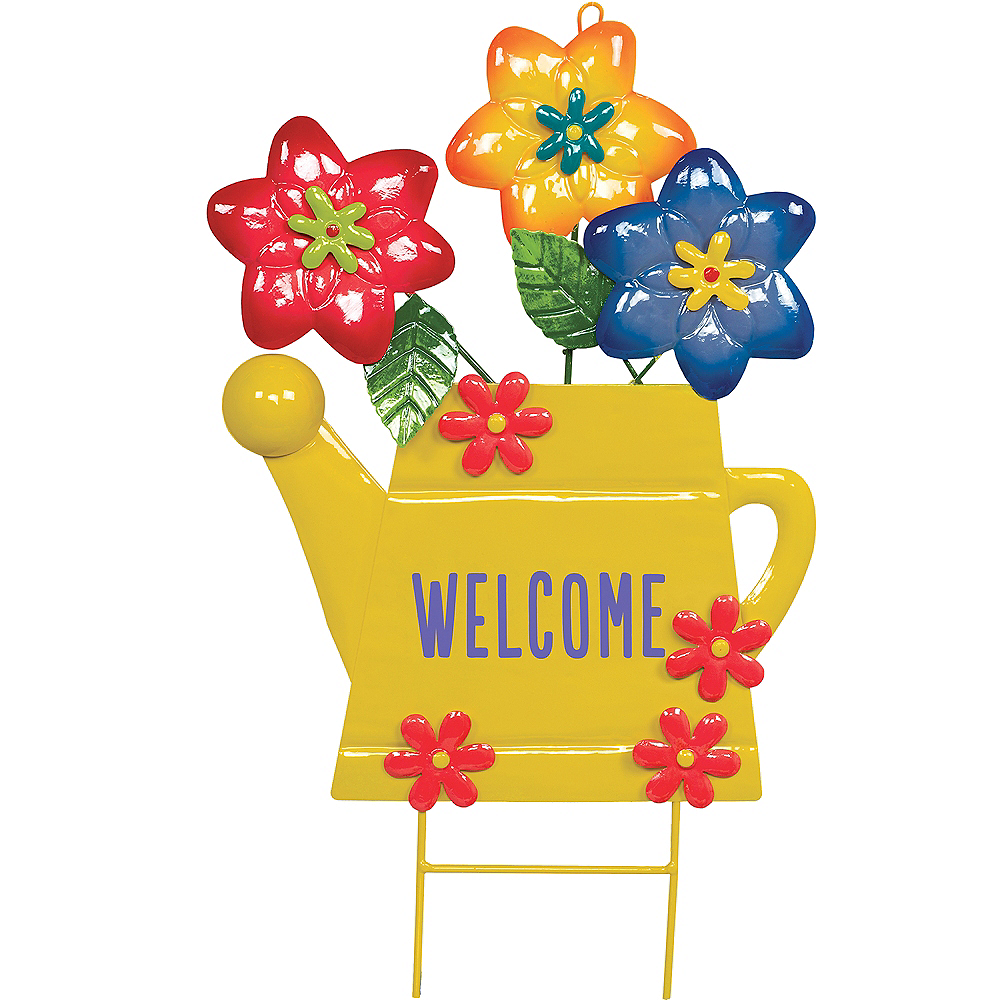 Watering Can Welcome Yard Stake Image #1