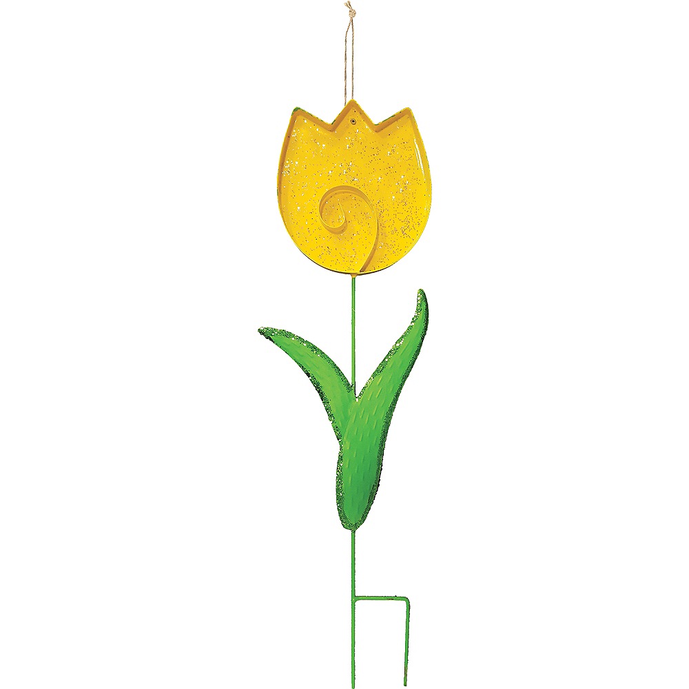 Nav Item for Glitter Yellow Tulip Yard Stake Image #1