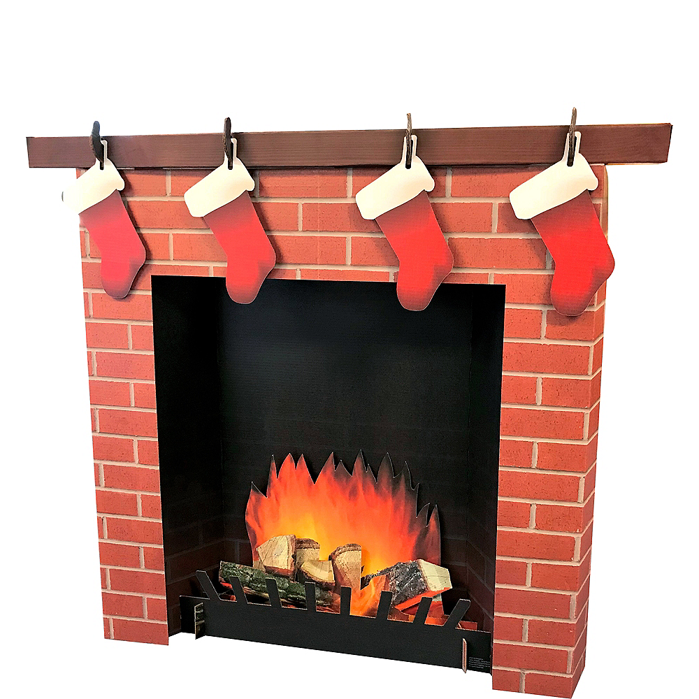 3d Brick Fireplace Standee 45in X 50in Party City
