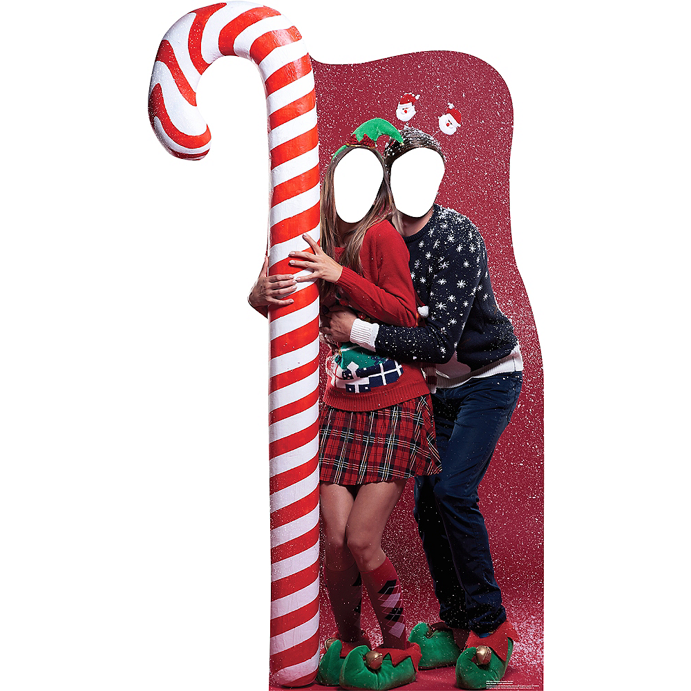 Christmas Stand In Cutouts.Ugly Christmas Sweater With Candy Cane Life Size Photo Cardboard Cutout