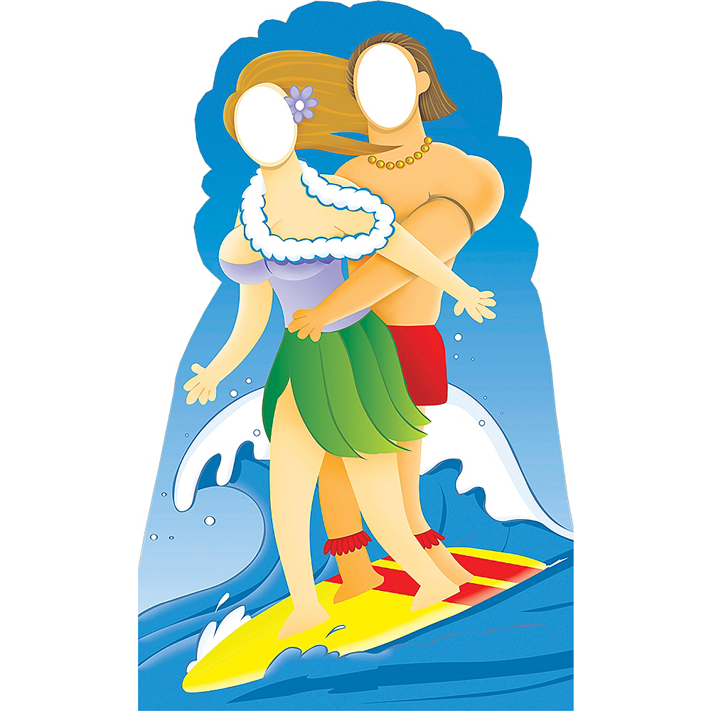 Surfer Couple Life-Size Photo Cardboard Cutout Image #1