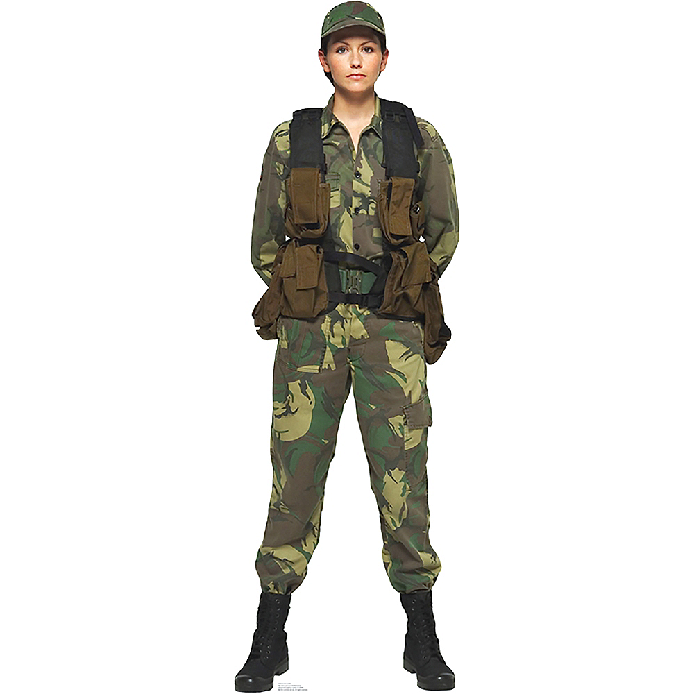Military Woman Life-Size Cardboard Cutout Image #1