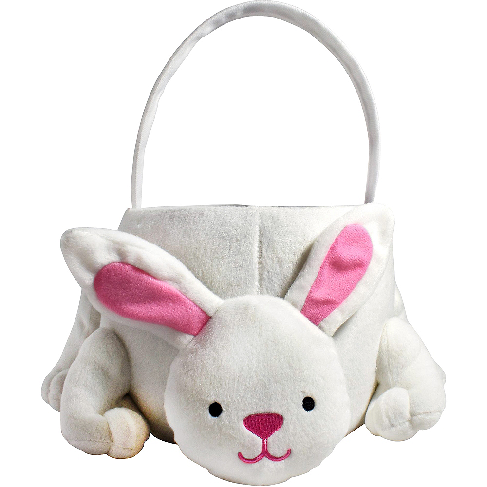 Plush White Bunny Easter Basket Image #1