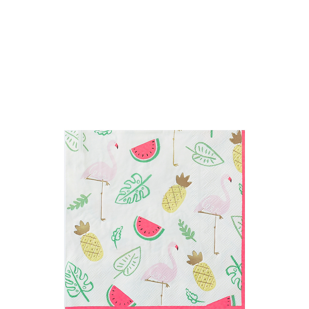 Flamingos & Fruit Beverage Napkins 16ct Image #1
