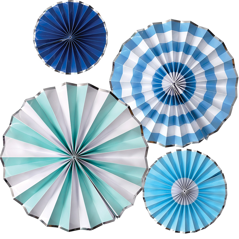 Shades of Blue Paper Fan Decorations 4ct Image #1
