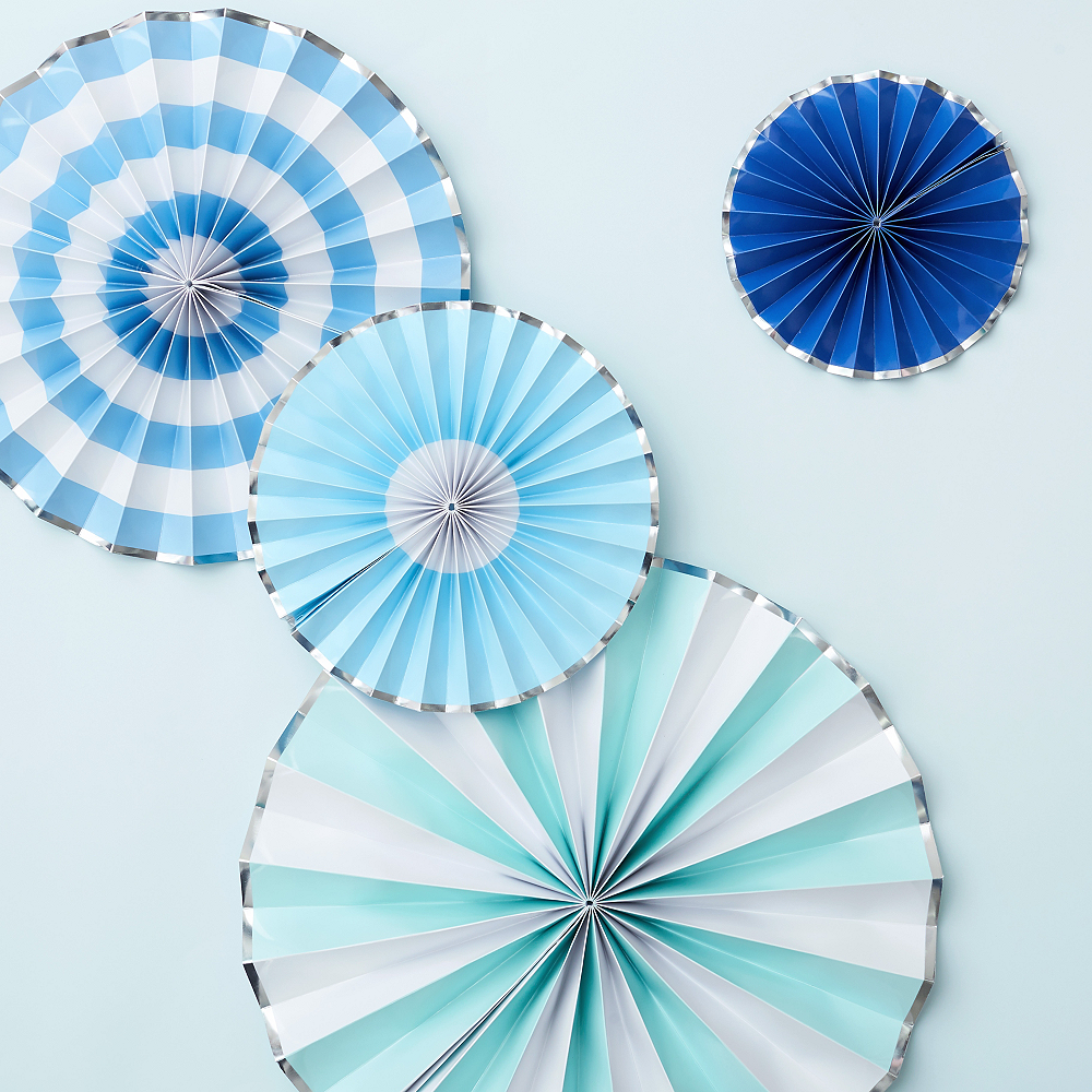 Shades of Blue Paper Fan Decorations 4ct Image #2