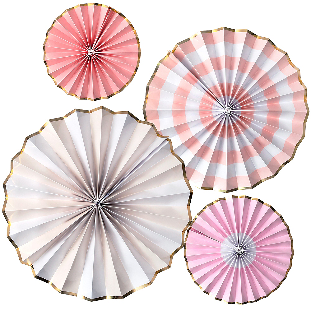 Shades of Pink Paper Fan Decorations 4ct Image #1