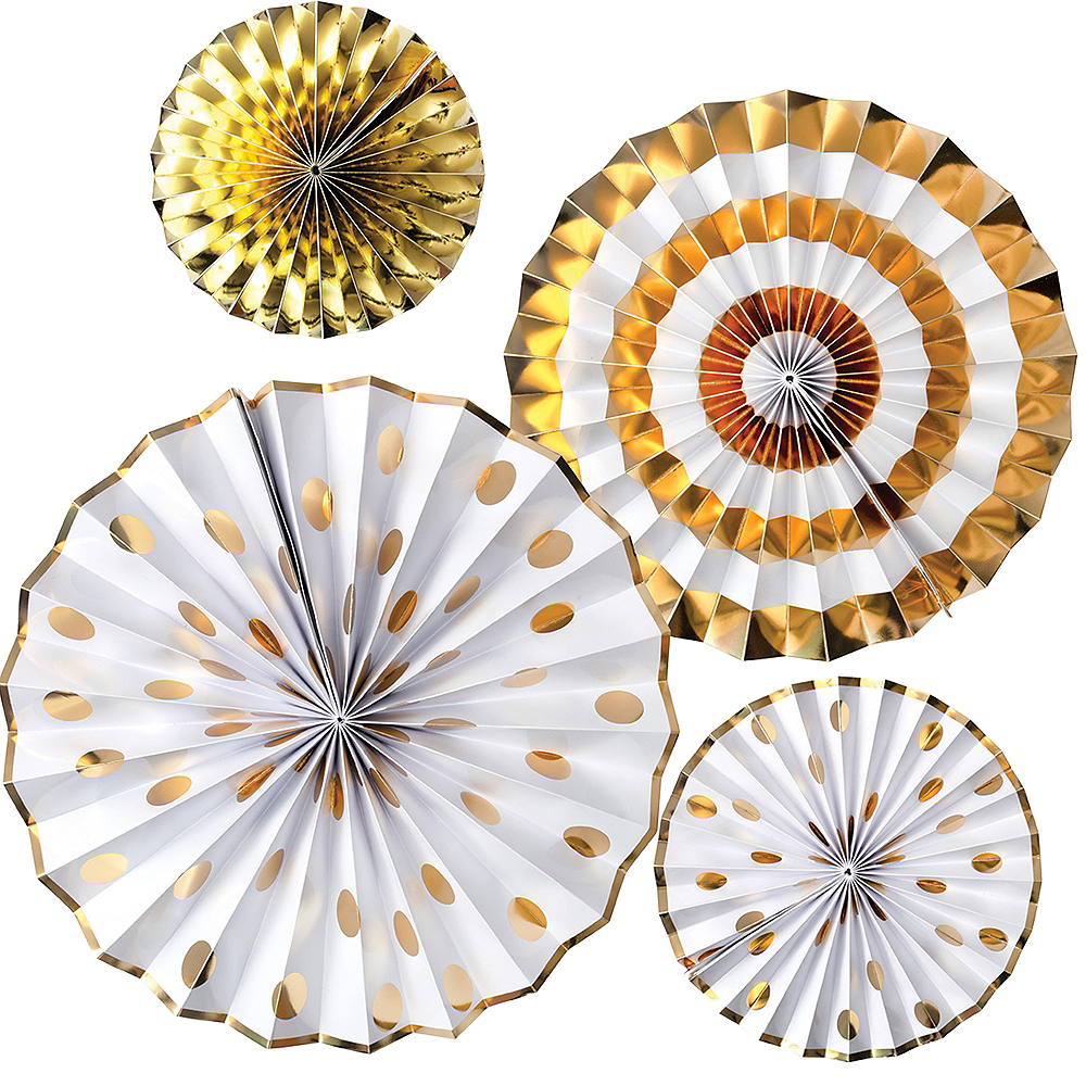 Touch of Gold Fan Decorations 4ct Image #1
