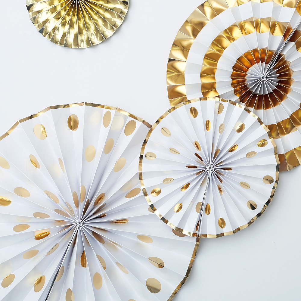 Touch of Gold Fan Decorations 4ct Image #2