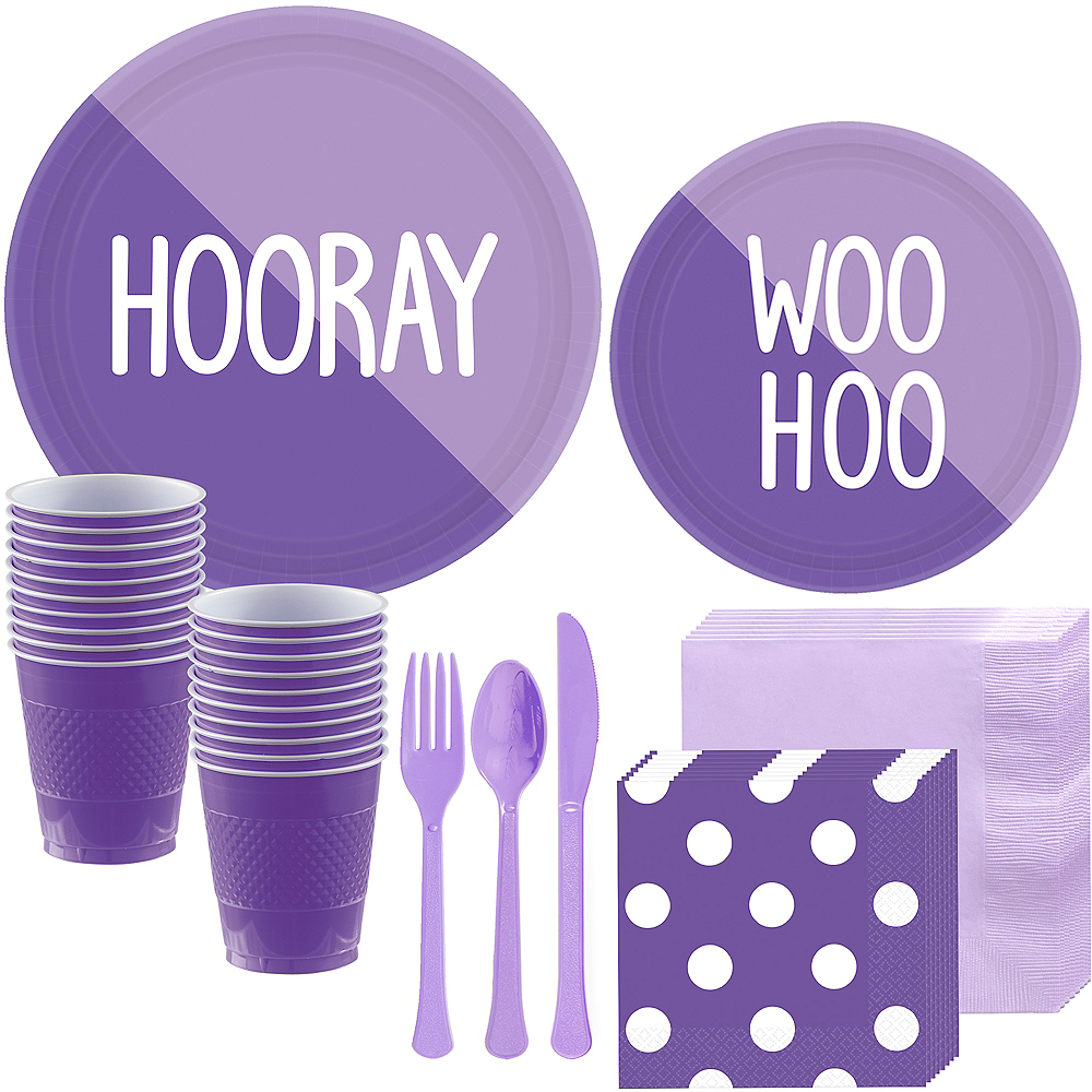 Lavender & Purple Tableware Kit for 16 Guests Image #1