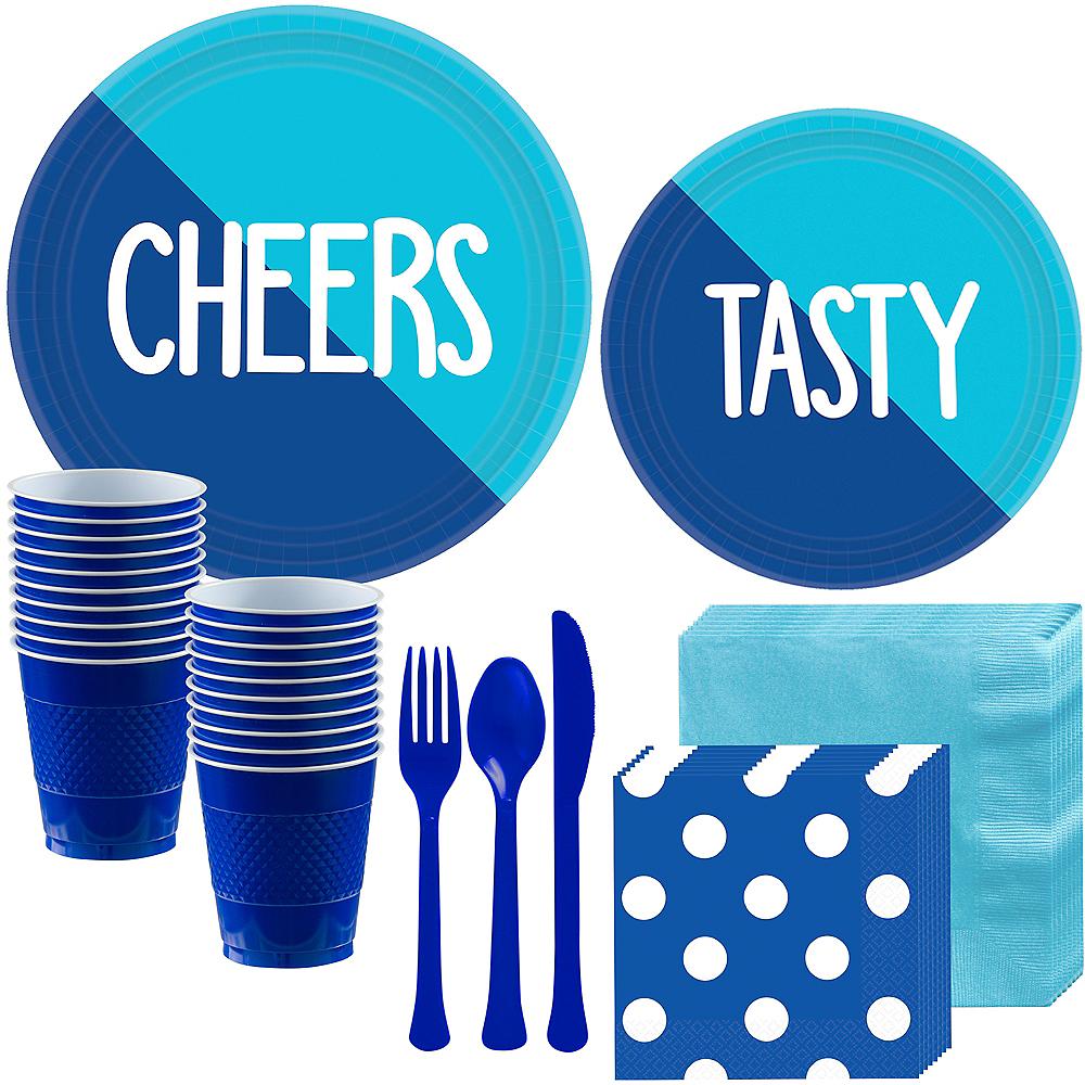 Caribbean Blue & Royal Blue Tableware Kit for 16 Guests Image #1