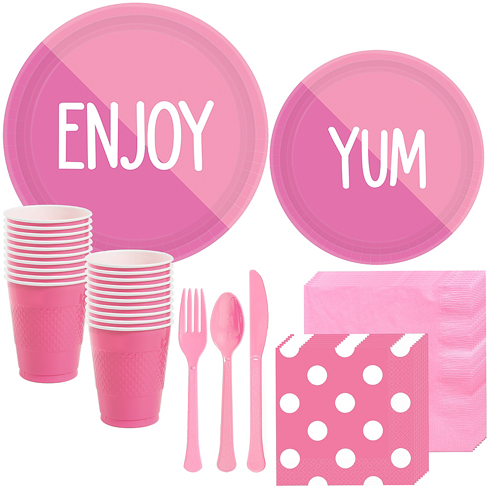 Bright Pink & Pink Tableware Kit for 16 Guests Image #1