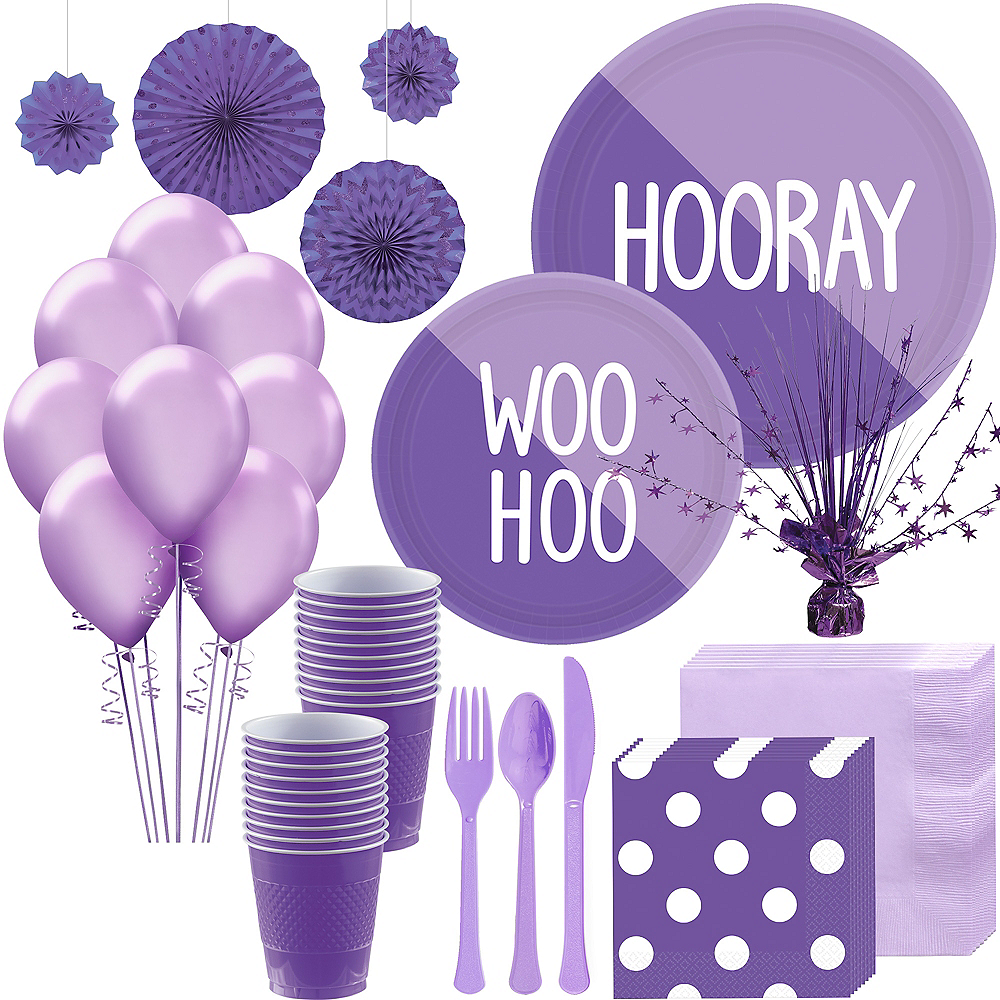 Lavender & Purple Deluxe Party Kit for 16 Guests Image #1