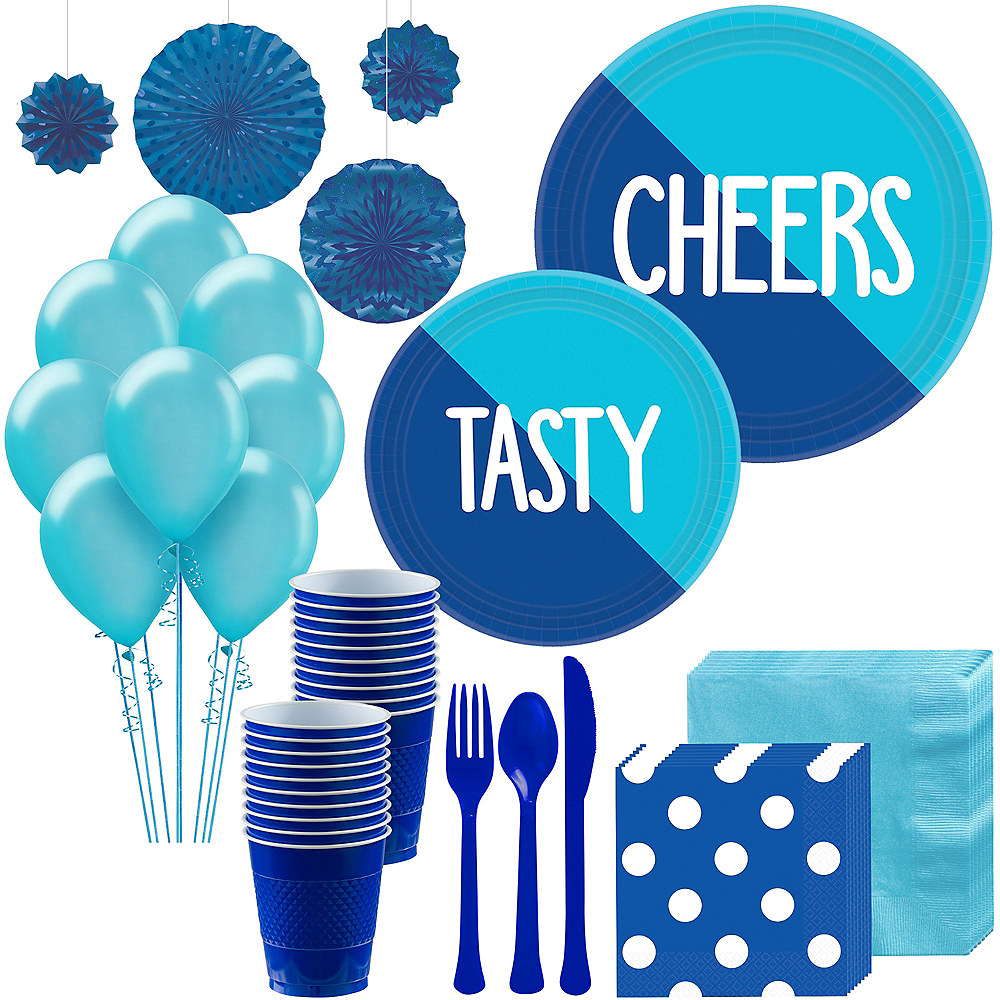 Caribbean Blue & Royal Blue Deluxe Party Kit for 16 Guests Image #1