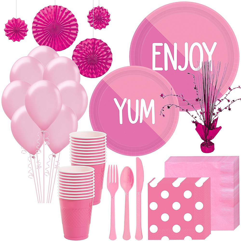 Bright Pink & Pink Deluxe Party Kit for 16 Guests Image #1