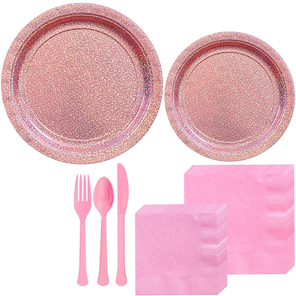 Prismatic Pink Tableware Kit for 16 Guests Image #1