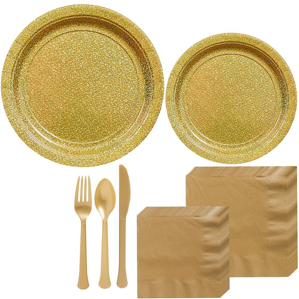 Prismatic Gold Tableware Kit for 16 Guests Image #1