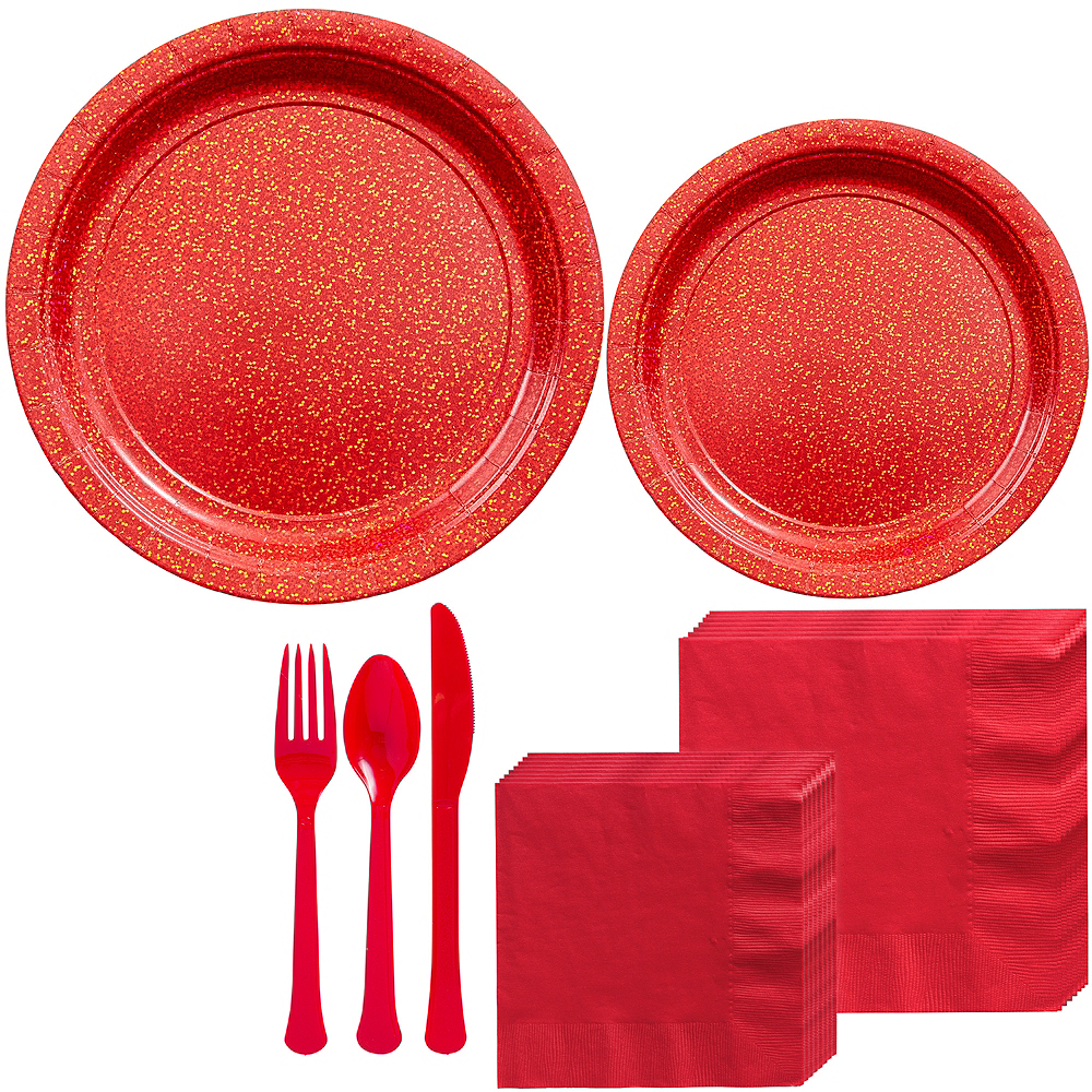 Prismatic Red Tableware Kit for 16 Guests Image #1