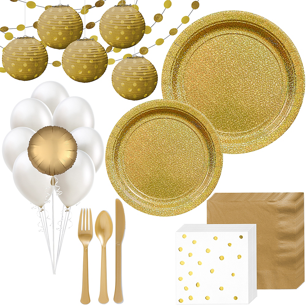 Prismatic Gold Deluxe Party Kit for 16 Guests Image #1