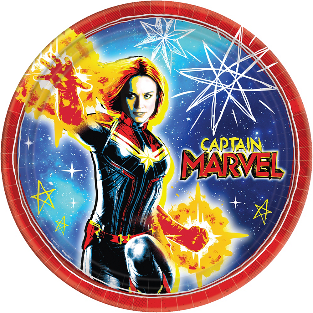 Captain Marvel Lunch Plates 8ct Image #1