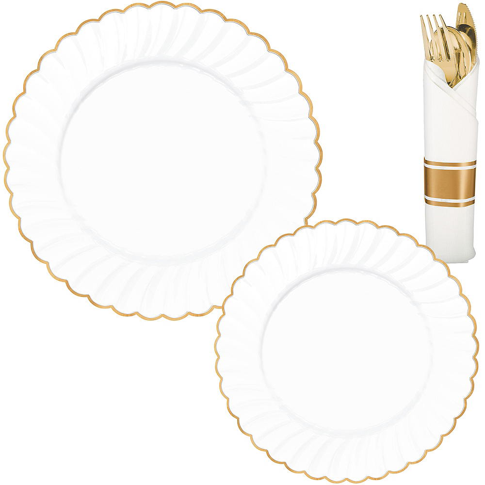White & Gold Scalloped Premium Tableware Kit for 40 Guests Image #1