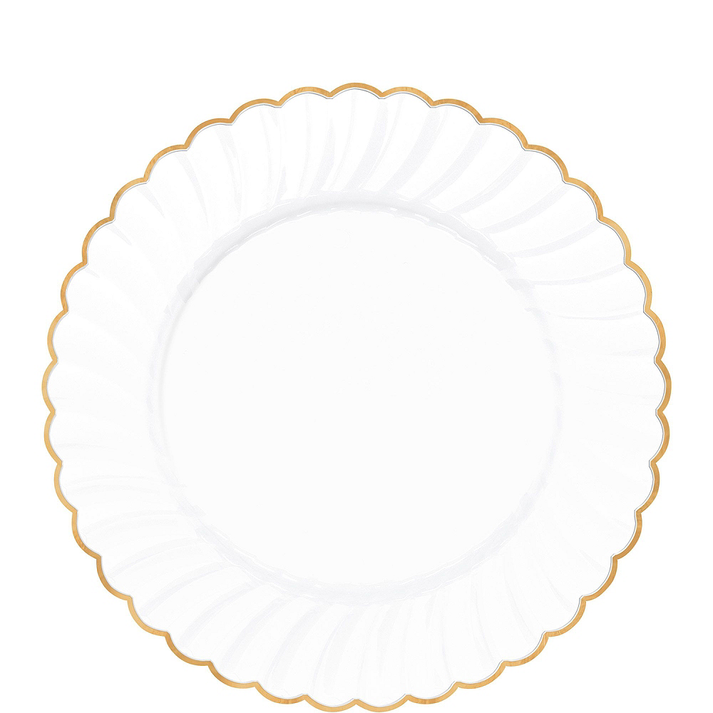 White & Gold Scalloped Premium Tableware Kit for 40 Guests Image #2