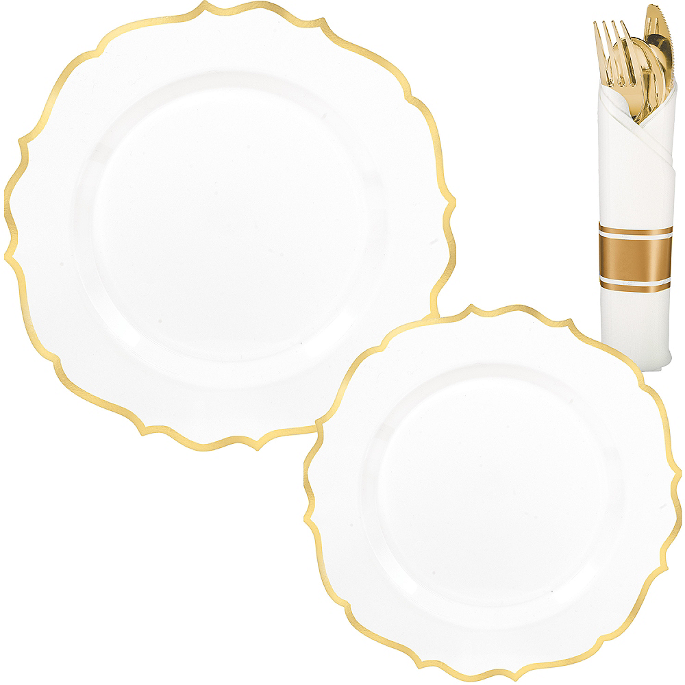 White & Gold Ornate Premium Tableware Kit for 40 Guests Image #1