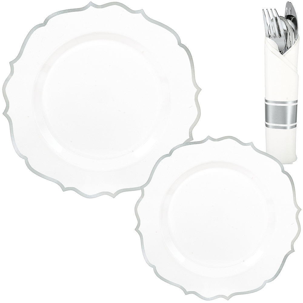 White & Silver Ornate Premium Tableware Kit for 40 Guests Image #1