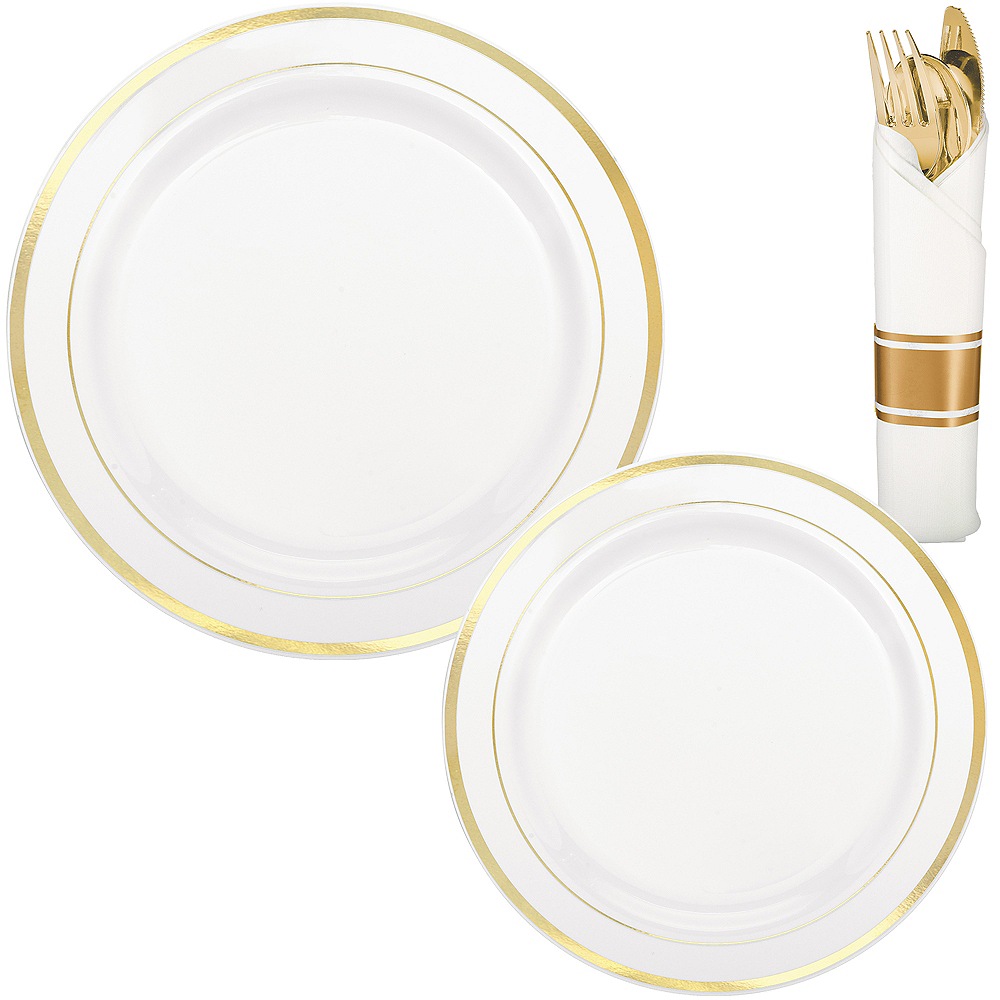 White Gold-Trimmed Premium Tableware Kit for 40 Guests Image #1
