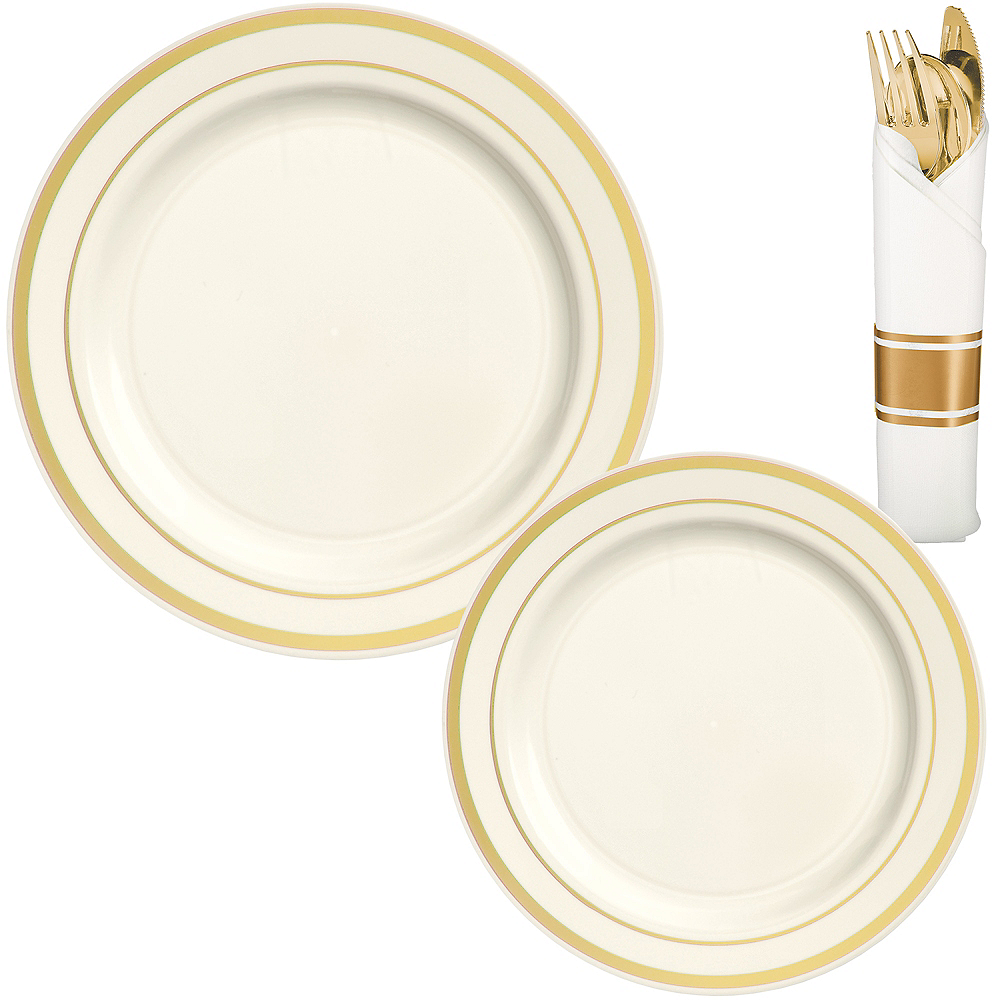 Cream Gold-Trimmed Premium Tableware Kit for 40 Guests Image #1