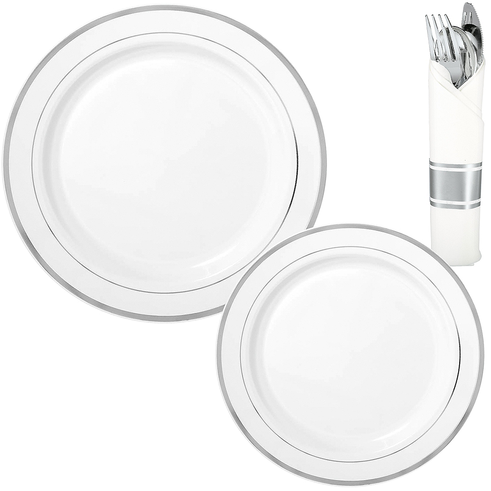 White Silver-Trimmed Premium Tableware Kit for 40 Guests Image #1