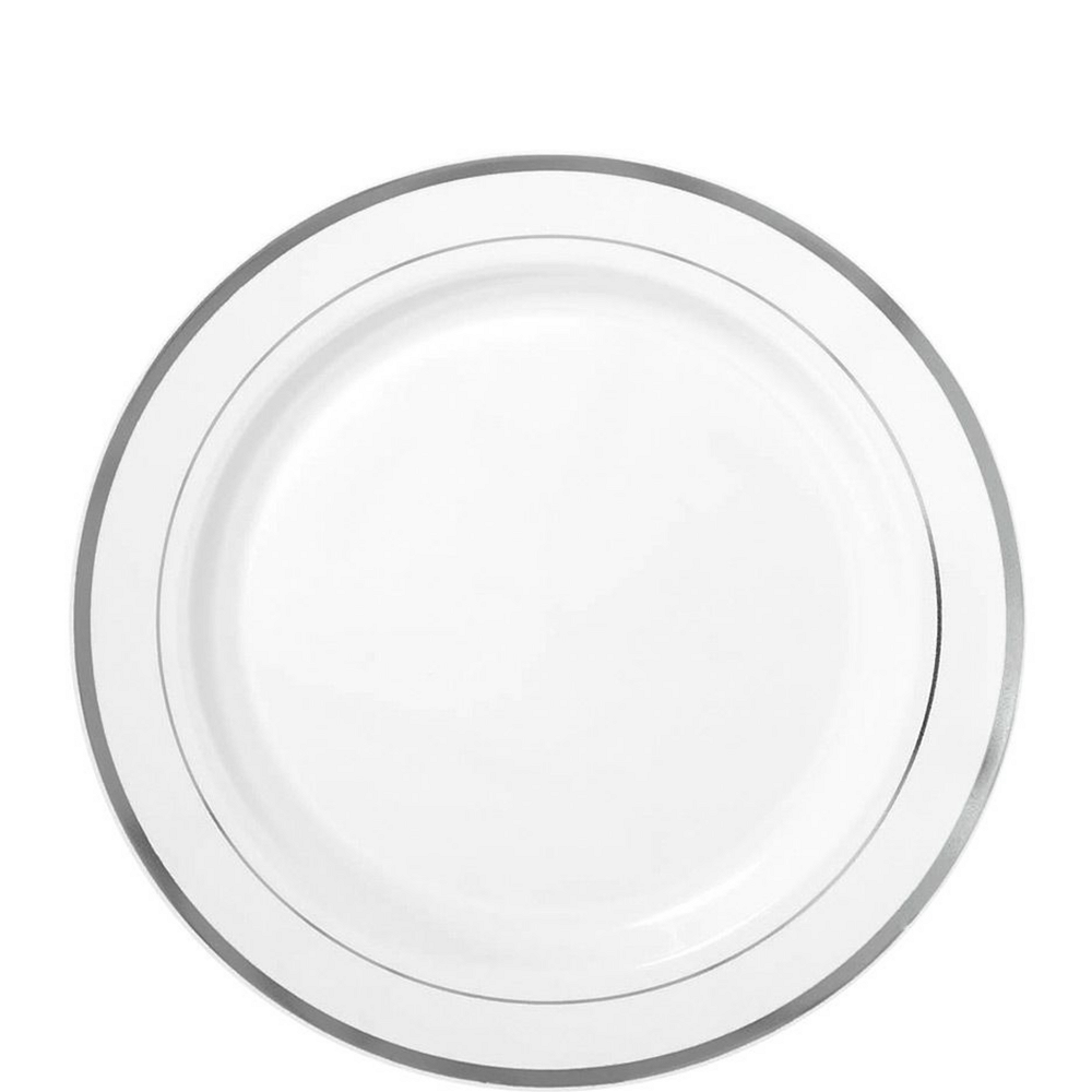 White Silver-Trimmed Premium Tableware Kit for 40 Guests Image #2