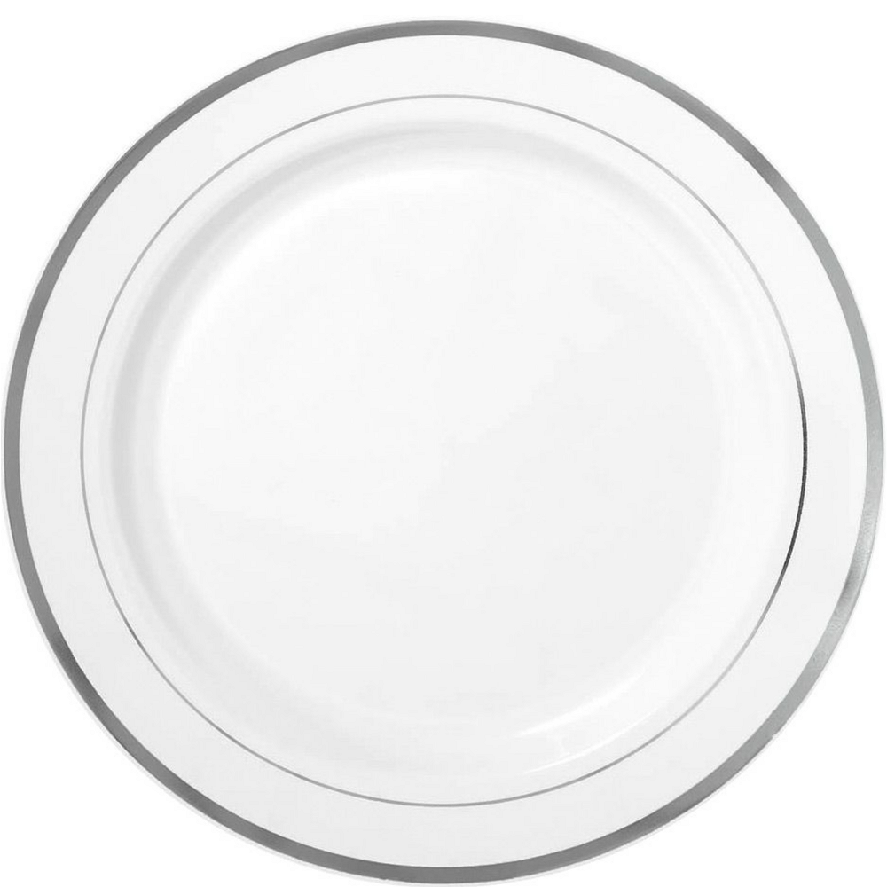 White Silver-Trimmed Premium Tableware Kit for 40 Guests Image #3