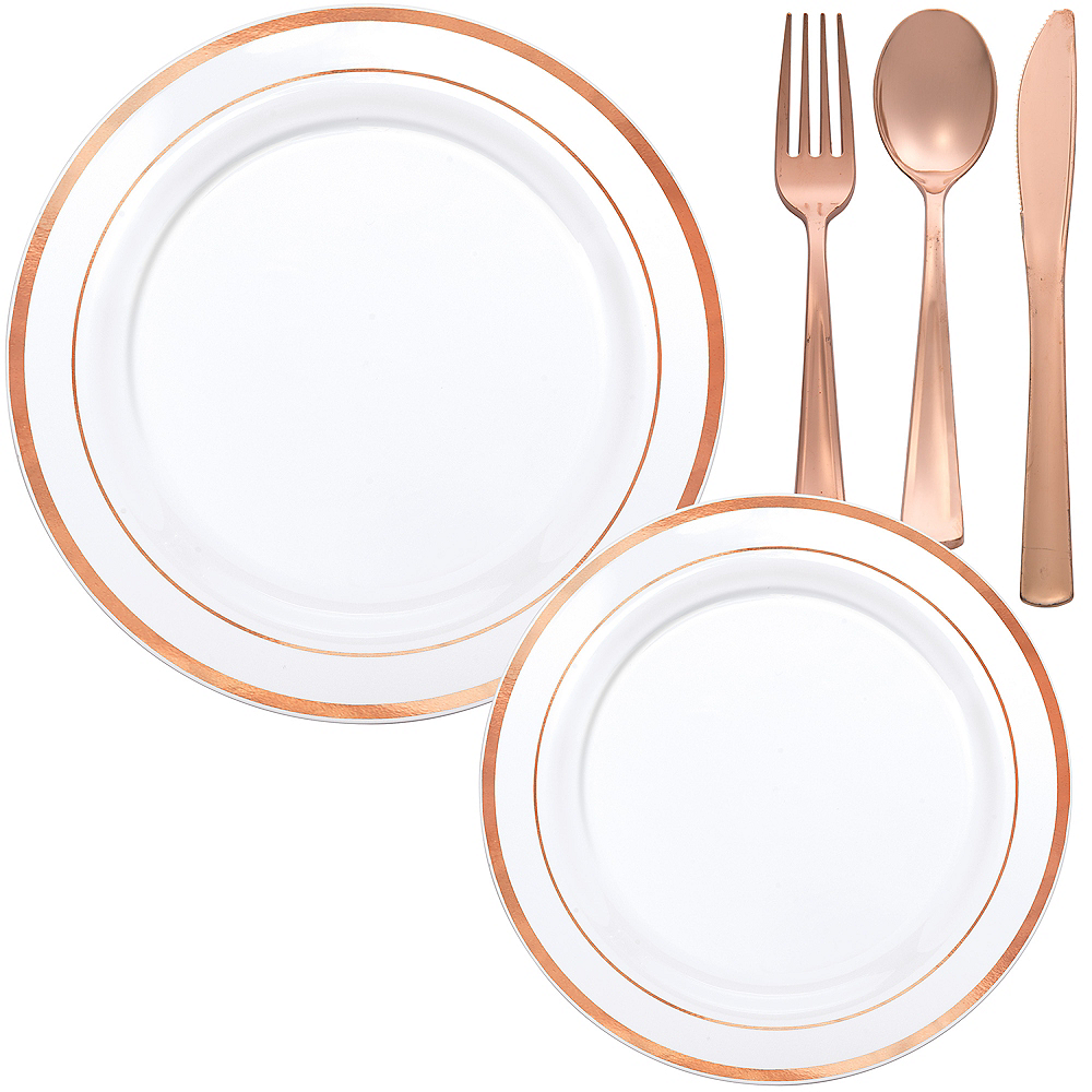 White Rose Gold-Trimmed Premium Tableware Kit for 60 Guests Image #1