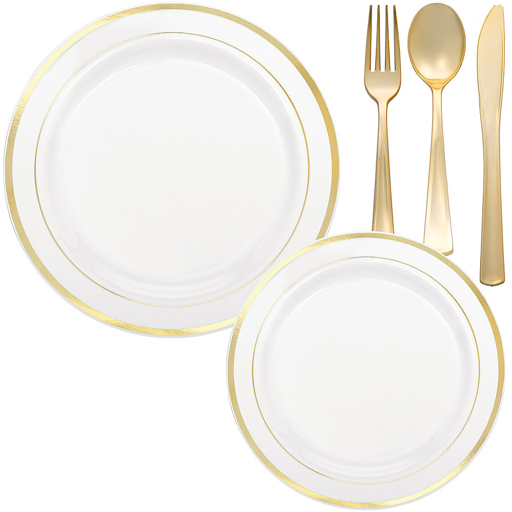 White Gold-Trimmed Premium Tableware Kit for 60 Guests Image #1
